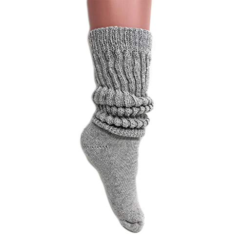 Women's Extra Long Heavy Slouch Cotton Socks Made in USA Size 9 to 11 (1 Pair - Gray) (Slouch Ladies Boot)