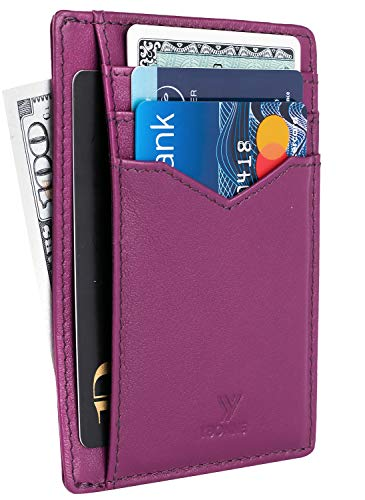 YBONNE Minimalist Front Pocket Wallet for Men and Women, RFID Blocking Thin Card Holder, Made of Finest Genuine Leather (Full-grain Purple, 1)