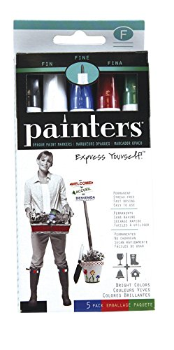 Elmer's Painters Opaque Paint Markers, Set of 5 Markers, Bright Colors, Fine Point - Paint Point Marker