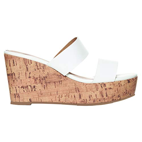 (Rohb by Joyce Azria Casablanca High Heel Platform Wedge Slip On Sandal (White) Size 10.5)
