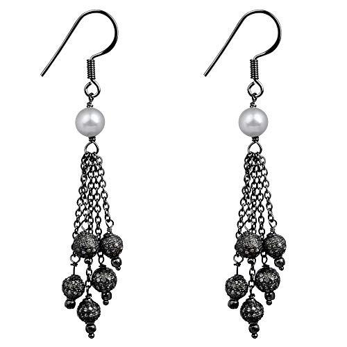 5.48 Ctw Freshwater Pearl & Diamond Earrings For Women By Orchid Jewelry: Dangle Earrings For Sensitive Ears, Hypoallergenic Nickel Free Earrings, Sterling Silver Dangling Wedding Earrings For Girls