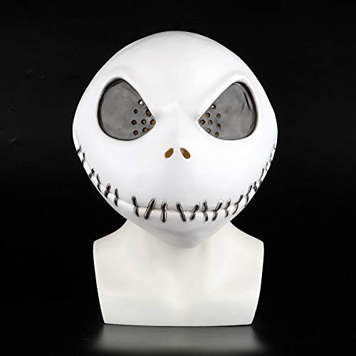 CHITOP New The Nightmare Before Christmas Jack Skellington White Latex mask Movie Cosplay Props Halloween Party Mischievous Horror mask ()