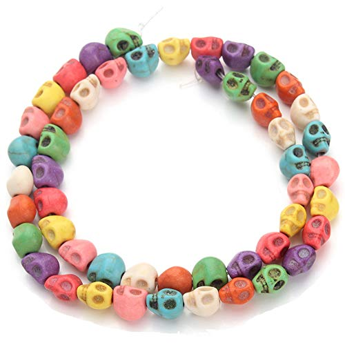 huiwen 8MM Colorful Skull Turquoise Loose Beads Stone Jewelry DIY Making Strand - Stone Turquoise Skull Beads