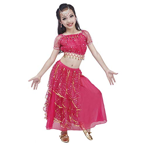Maylong Girls Princess Dress up Belly Dance Skirt Halloween Costume DW52 (Large, hot Pink)