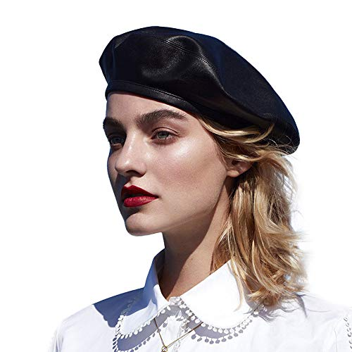 Hats Leather Ladies (WETOO Women Beret Hat PU Leather Cap)