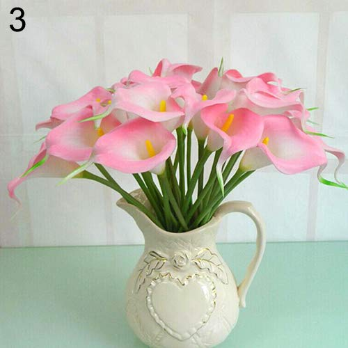 litymitzromq Artificial Flowers Fake Plants, 10Pcs Sweet Artificial Latex Calla Lily Flower Bouquet Home Wedding Bridal Decor Faux Fake Flowers Floral Arrangement