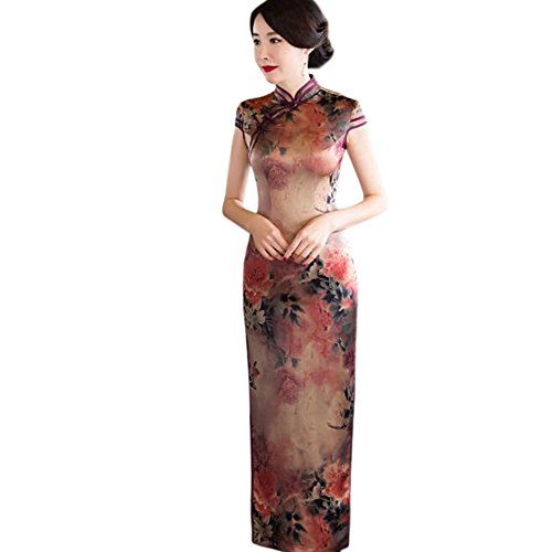 Vestido Seda Hzjundasi Mujer Qipao de Cheongsam Chino Slim Floral Impreso Lino Robe 08 Elegante Noche Largo fPPqnYrxw1