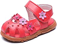 DADAWEN Girl's Summer Soft Closed-Toe Princess Flower Outdoor Casual Sandals (Toddler/Little