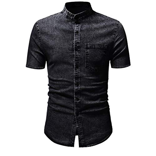 Kiasebu Men's Cowboy Casual Short Sleeve Button Down Shirt Denim Jean Shirt Standard-Fit Henley Hoodie Shirts