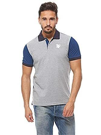 Louis Feraud Blue & Grey Shirt Neck T-Shirt For Men