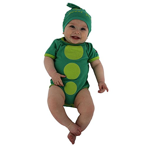 Unisex Sweet Pea Bodysuit & Cap Set, Green Infant Onesie, 3-6 -