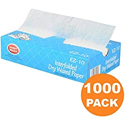 1000 Interfolded Food and Deli Dry Wrap Wax Paper Sheets with Dispenser Box, 8 x 10.75 Inch [2x500 Pack]
