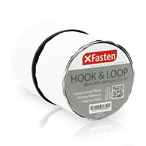 (XFasten Adhesive Hook and Loop Tape, Black, 3-Inch x 10-Foot Sticky Back Double-Sided Hook Loop Tape for Textile, Tools, Gardening Beds, Mounting Chargers)
