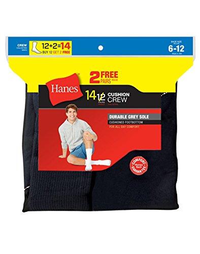 Hanes Men's Freshiq Crew Socks Pack (12-Pack Plus 1 Free Bonus Pair), Black, 10-13 (Shoe: 6-12)