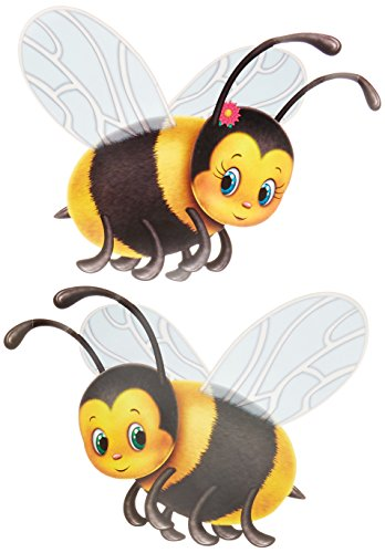 Beistle 57781 2-Pack Bumblebee Cutouts, 17-Inch Cut Out Wall Decoration