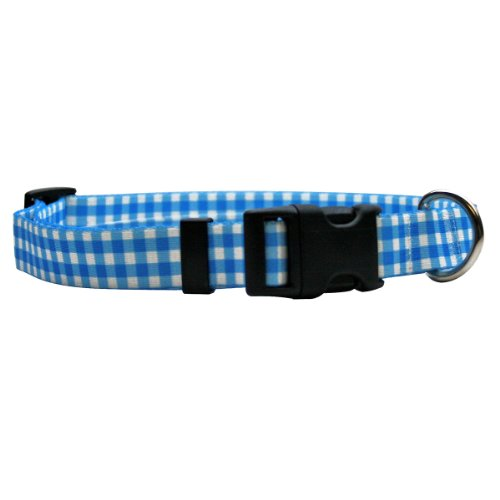 Yellow Dog Design Gingham Blue Break Away Cat Collar, One Size Fits All