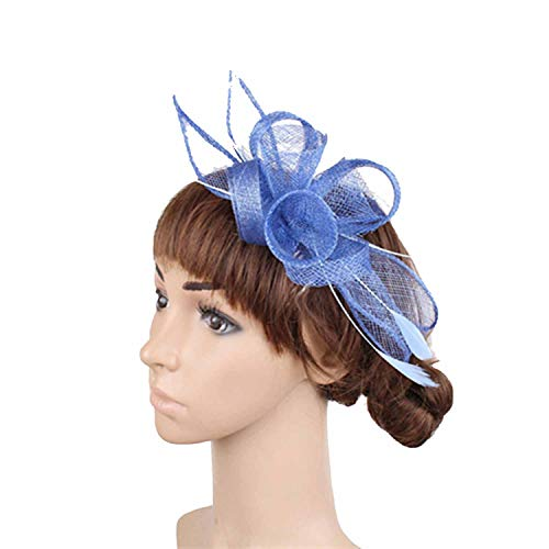 Surprisedresshatglasses-Halloween hat Colors Select Elegant Gold Hair Fascinator Hats Hair Comb Feather Wedding Hair Accessories,Light Blue -