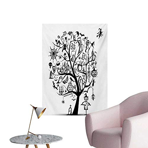 ParadiseDecor Halloween Wallpaper Sketchy Spooky Tree with Spooky
