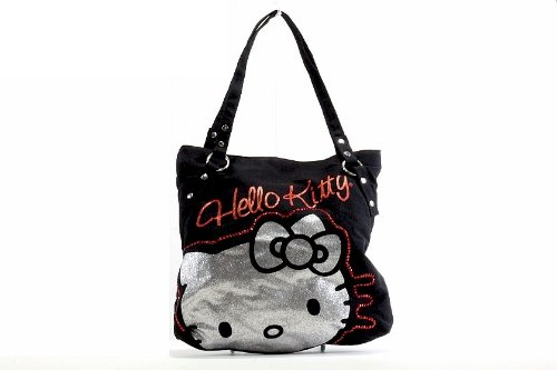 Hello Kitty Girl's Tote Kitty Rocks Black Handbag