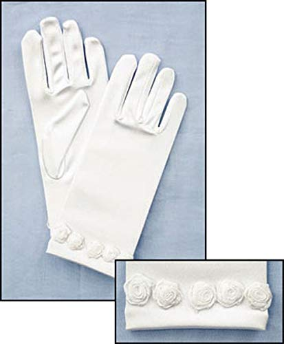 Religious Gifts My Holy First Communion Dress Accessory Set of White Satin Gloves with Rosebud -