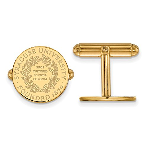 Roy Rose Jewelry Sterling Silver with 14K Yellow Gold-plated LogoArt Syracuse University Crest Cuff Links