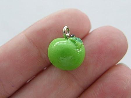 4 Green Apple Fruit Charms Resin 12mm