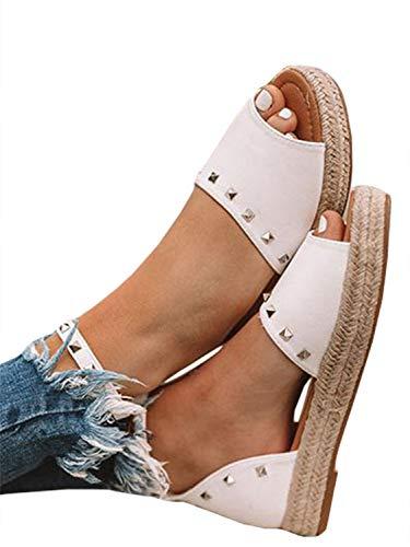 YOMISOY Womens Flat Sandals Peep Toe Espadrille Ankle Strap Rivet Flip-Flop Flatform Sandalias