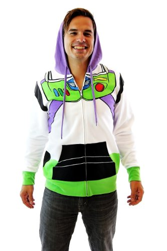 Toy Story Buzz Lightyear Astronaut Adult Costume Hoodie Sweatshirt (Adult X-Small) (Buzz Lightyear Fancy Dress Adult)