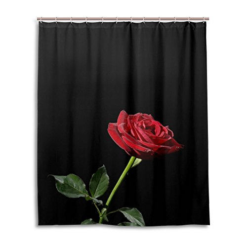 BAIHUISHOP Bathroom Shower Curtain With 12 Hooks Mildew Proof Polyester Fabric 60X72 Inch Valentine's Day Red Rose Pattern