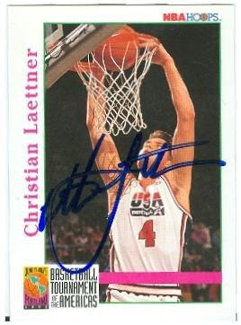 1992 Usa Basketball Dream Team - Christian Laettner autographed basketball card (USA Dream Team) 1992 Skybox #342