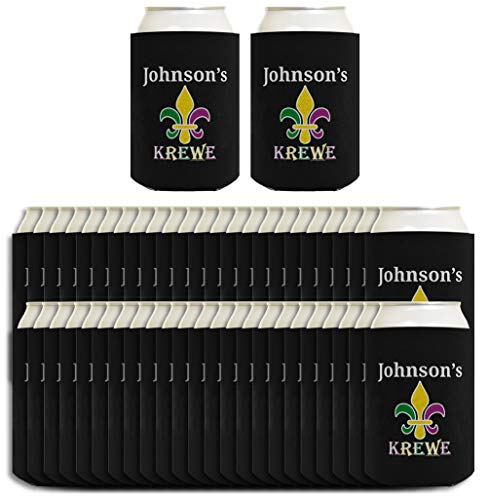 MardiGrasPartyFavors Your Text Krewe Custom Coozie 48-pack Customized Can Coolies -