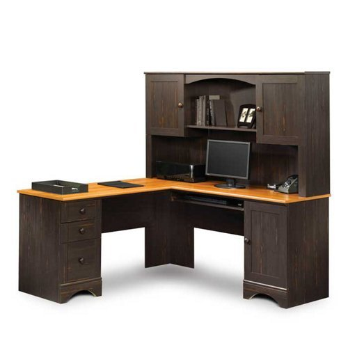 American View Computer (Sauder Harbor View L-Desk with Hutch and Reversible Storage, American Cherry/Antique White)
