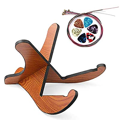 Guitar Stand, Universal Acoustic Guitar Stand Wooden Guitar Rack with Guitar Picks Guitar String, Portable Detachable Guitar Holder for Musical String Instrument and Acoustic Classical Bass Guitars
