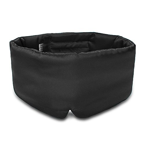 100% Mulberry Silk Sleep Mask Eye Mask for Man and Woman with Adjustable Headband, Full Size Large Sleep Mask & Blindfold for Total Blackout for All Night Sleep, Travel & Nap- Black