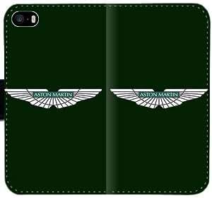 Aston Martin Green Logo caja del cuero DQP H6X5A Funda iPhone 4 4S Funda Caso duro 2473W3 tapa del teléfono celular Funda protectora