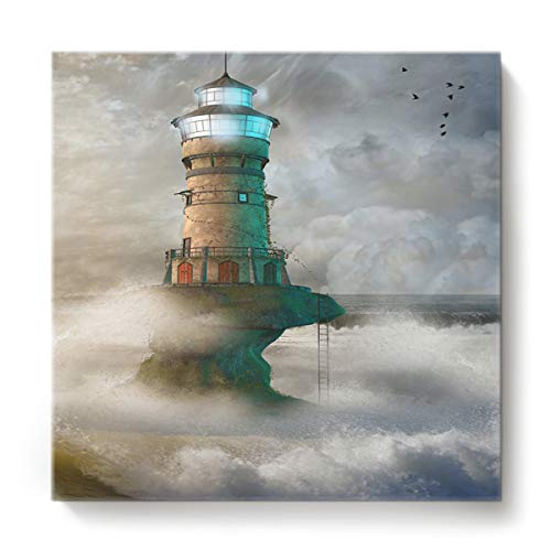 Canvas Print Wall Art for Living Room Lighthouse in Roaring Ocean Waves Wall Art Pictures for Home Decor Stretched and Framed Ready to Hang 16 x 16 inches (Pictures Framed Lighthouse)
