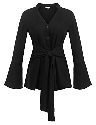 Concep Ladies Long Sleeve V Neck Chiffon Blouse Evening Tops For Women Button-Down Shirt (Black, - Sleeve Blouse Long Belted