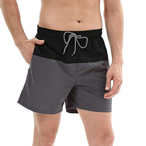 anqier Mens Swim Trunks Quick Dry Beach Shorts Mesh Lining Board Shorts Swimwear Bathing Suits with Pockets (Black&Grey, US L (Fits Waist 34.5