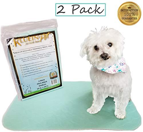 Kluein Pet Washable Dog Pee Pads, Absorbent Waterproof Reusable Puppy Pads, Aqua 2-Pack 18 x 24 inch, Pet Food Mat, Dog Crate Mat, Cat Mat, Potty Training, Travel