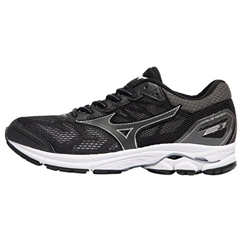 Mizuno Women's Wave Rider 21 Running-Shoes, Color- Black/Silver, US Shoe Size- 9 US / 6.5 UK