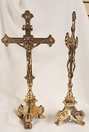 """A double sided standing Crucifix in shiny brass with a 3 point base, 13"""". Made in Italy"""