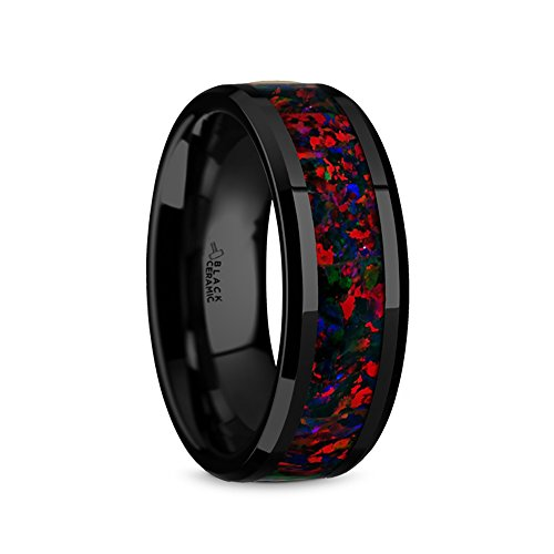 Thorsten Matrix Flat Style Black Ceramic Wedding Ring with Black Opal Inlay and Polished Beveled Edges Comfort Fit Lightweight Durable Wedding Band Rings - 8mm ()