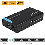 gofanco HDMI Splitter 4K 1X4 Port HDMI to HDMI Signal Distributor with 4 EDID MODES, Supports up to Ultra HD 4K @30Hz,3D, Compliant with HDMI and HDCP standards, 1 in 4 out (Splitter4P)