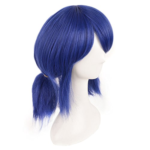 [SiYi Short Blue Curly Synthetic Wigs with Pigtails Lolita Cosplay Full Wig with Bangs for Girl] (Ladybug Soft Costumes)