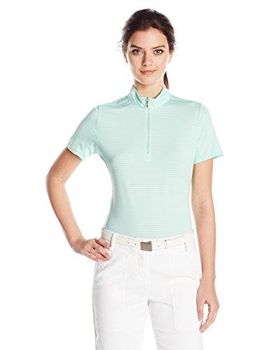 Cutter & Buck Women's Moisture Wicking, UPF 50+, Short-Sleeve Striped Kelsey Zip Mock Shirt, Sea Glass, S