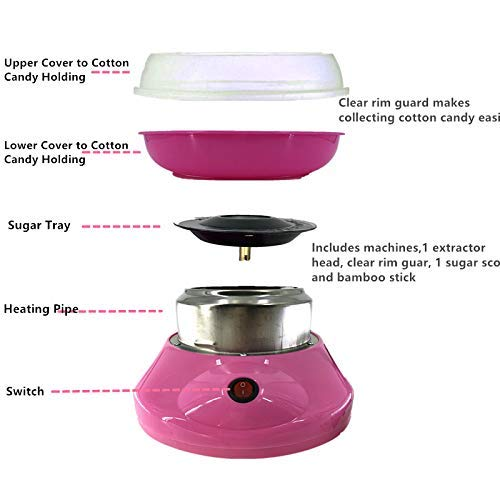 SYLPHID Cotton Candy Maker,Cotton Candy Machine Fluffy Perfection Fast Fun and Easy with Exciting Carnival Atmosphere Pink