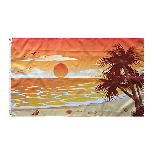 WOWMAR Sea Beach Flag 3x5FT Flag –Sunset Sunrise Banner - Double Sided Decorative Polyester Flag with Brass Grommets Indoor/Outdoor Flag