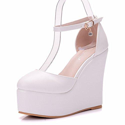 DE Impermeable Zapatos Mujer Redonda de de Hueco Fino la Zapatos Blanco cm Espesor Cabeza Sandalias Pendiente de de 13 Inferior Plataforma Pxt5TEqEFw