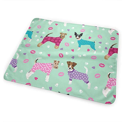 - Terriers in Pyjamas Fabric Dogs in Clothes Cute Rat Terrier, Jack Russell Terrier, Welsh Terrier, Wire Fox Terrier Baby Portable Reusable Changing Pad Mat 25.5 x 31.5