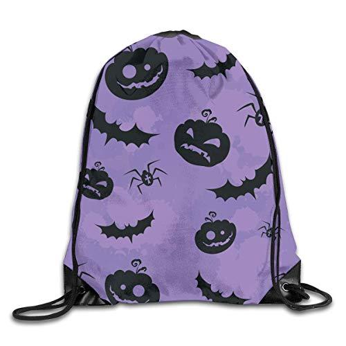 Halloween Pumpkin Bat Drawstring Backpack Travel Bag Gym Outdoor Sports Portable Drawstring Beam Port Backpack For Girl Boys Woman Men ()